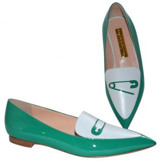 Rupert Sanderson White/Green leather flat shoes