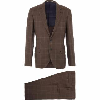 Brunello Cucinelli double-breasted brown plaid linen-wool-silk blend suit