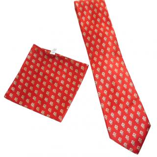 BRIONI Red Patterned Silk Tie and Pocket Square