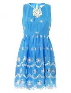 Colette Dinnigan  Blue summer dress with white beads