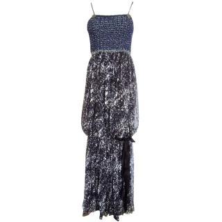 Chanel long maxi dress black navy