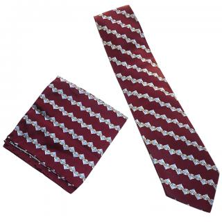 BRIONI Burgundy Patterned Silk Tie and Pocket Square