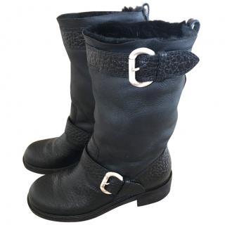Giuseppe Zanotti black leather fur lined biker boots
