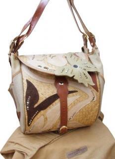 Bracher Emden large leather & wicker weekend bag