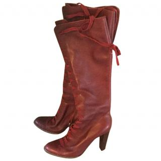 Philosophy by Alberta Ferretti red laced boots