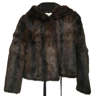Sandro Hooded Fur coat