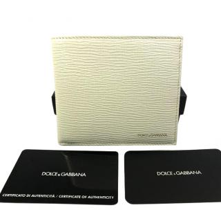 Dolce & Gabbana Mens Bifold White Leather Wallet