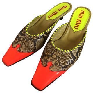 Miu Miu snakeskin neon mules with kitten heel