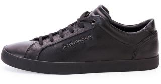 Dolce and Gabbana Black Leather Sneakers