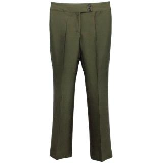 Burberry Olive Silk Finish Trousers