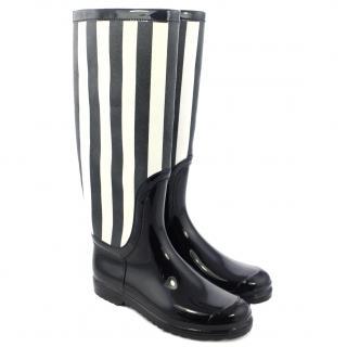 Dolce & Gabbana Striped Faux Patent-Leather Rain Boots
