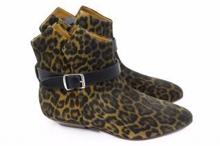 Saint Laurent Leopard-Print Suede Ankle Boots
