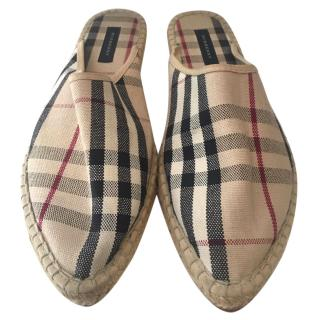 Burberry Checked Slip On Sandals