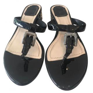 Christian Dior Patent Leather Sandals.