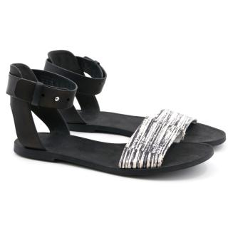 Vince Black and White Strappy Sandals