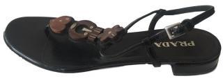 Prada Patent Leather Sandals.
