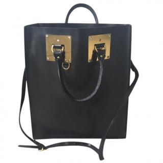 Sophie Hulme Large Black Leather Albion Tote