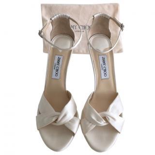 Jimmy Choo Macy Ivory Satin Sandals