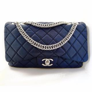 Chanel Blue Quilted Washed Lambskin Leather Jumbo Flap Handbag