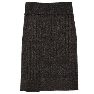 Bella Freud knitted sparkle rib wool skirt
