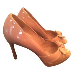 YSL nude patent bow peep toe pumps