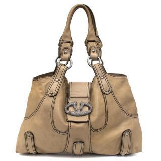 Valentino Taupe Leather Shoulder Bag