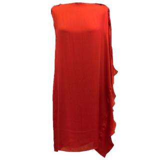 Lanvin Red Silk Asymmetric Dress