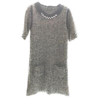 lanvin beige wool dress with embellishments