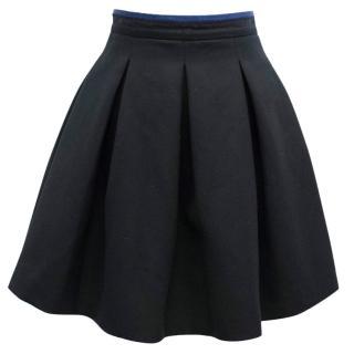 Miu Miu Black Pleated Wool Skirt