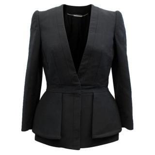 Alexander McQueen Black Wool Blend Peplum Blazer