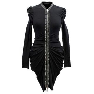 Alexander McQueen Black Ruched Zip Dress