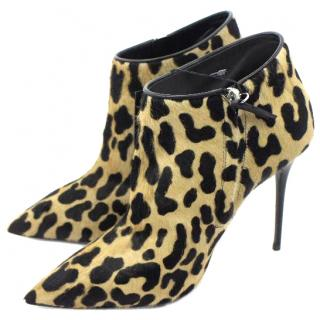 Giuseppe Zanotti Leopard-print Pony Hair Leather High Heel Ankle Boots UK 6.5