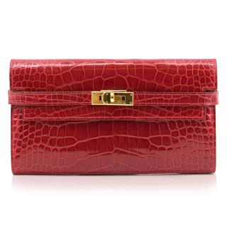 Hermes Red Crocodile Kelly Purse