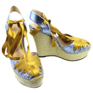Gucci Gold and Blue Wedge Sandals