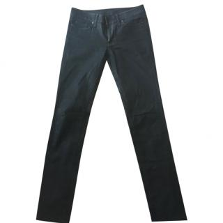 7 For All Mankind Wetlook Skinny Black Jeans
