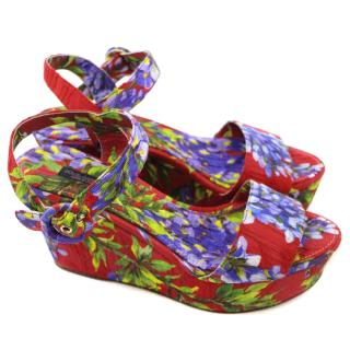 Dolce & Gabbana Red Floral Wedge Sandal