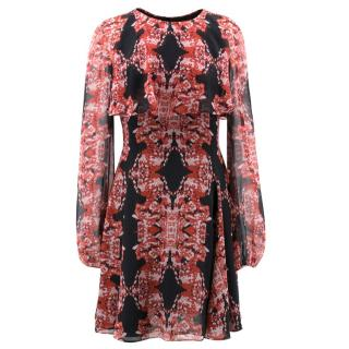 Giambattista Valli Black and Red Patterned Silk Dress