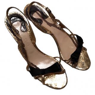 Chloe gold python sandals