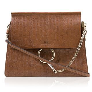 Chloe Brown Faye Medium Croc-Effect Shoulder Bag