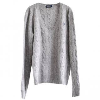 POLO Ralph Lauren grey wool-cashmere cable-knit jumper