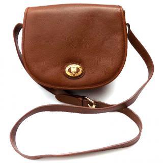BURBERRY / Burberrys Vintage Brown Leather Shoulder bag.