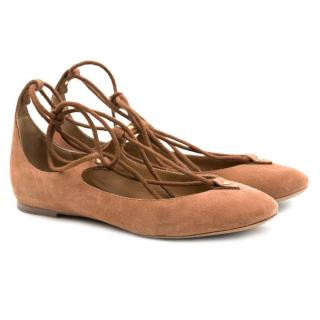 Chloe Lace-Up Suede Ballet Flats