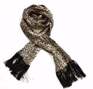 Saint Laurent babycat pleated silk scarf