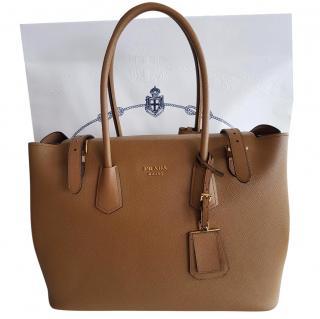 Prada saffiano Cuir tan Large leather handbag