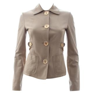 Michael Kors Collection Chain Detail Leather Jacket