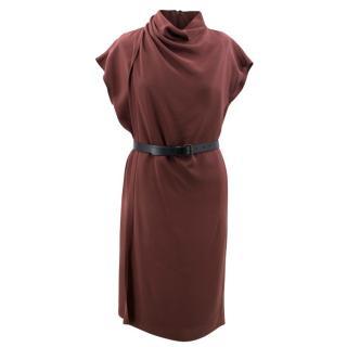 Derek Lam Burgundy Belted Dress