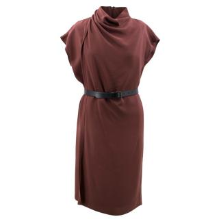 Derek Lam Burgundy Belted Dress