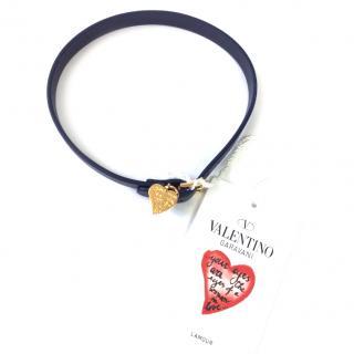 Valentino Heart Charm Wrap-Around Leather Bracelet