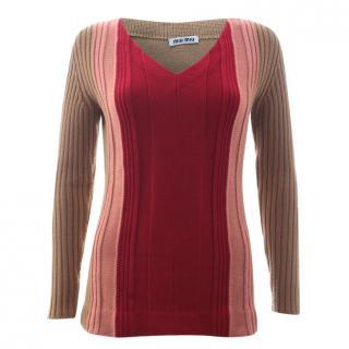 Miu Miu Colour-Block Ribbed Wool Sweater