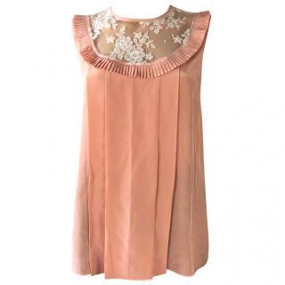 Miu Miu Pink Lace Silk Top